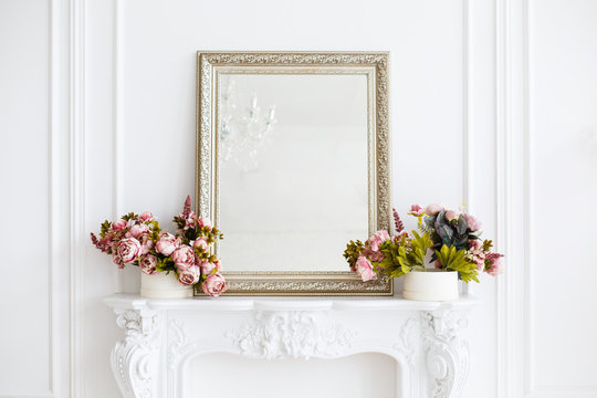 mirror in a classic luxury room in light colors