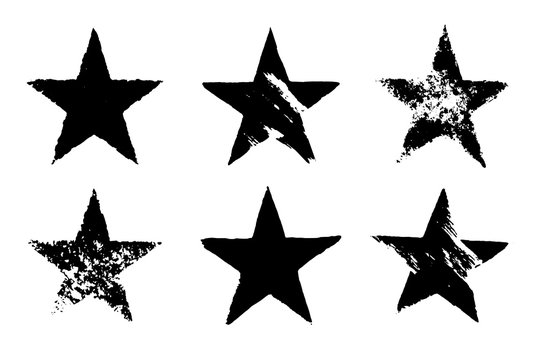 Set of grunge black star imprints