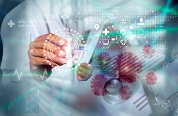 Medical technology and futuristic concept. Doctor hologram modern virtual screen interface. Coronavirus.