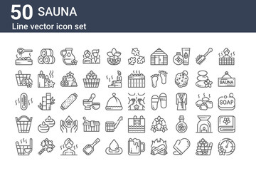set of 50 sauna icons. outline thin line icons such as pressure, bucket, bucket, thermometer, bucket, towels, massage