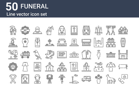 set of 50 funeral icons. outline thin line icons such as customer service, black ribbon, wreath, graveyard, funeral, wreath, military