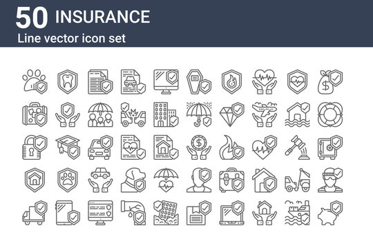 set of 50 insurance icons. outline thin line icons such as savings, delivery truck, life insurance, padlock, travel insurance, money