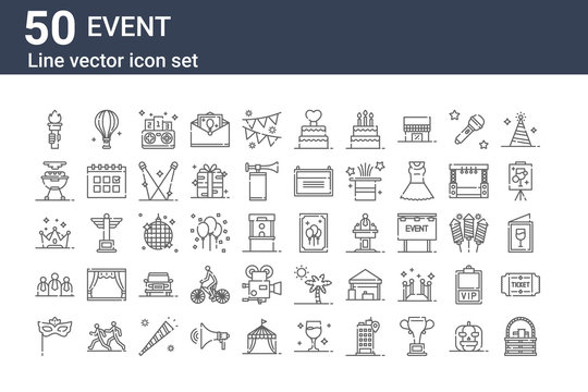 set of 50 event icons. outline thin line icons such as picnic basket, eye mask, audience, crown, barbecue, hot air balloon, event poster