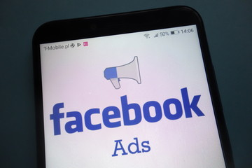 KONSKIE, POLAND - OCTOBER 28, 2018: Facebook Ads logo on smartphone