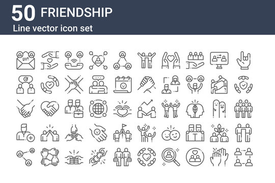 set of 50 friendship icons. outline thin line icons such as community, share, add friend, hands, conversation, protect, develop