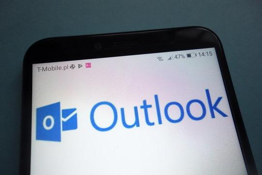 KONSKIE, POLAND - OCTOBER 28, 2018: Microsoft Outlook logo on smartphone