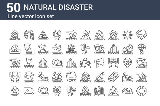 set of 50 natural disaster icons. outline thin line icons such as float, burning, charity, ecology and environment, ecology and environment, farming and gardening, buildings