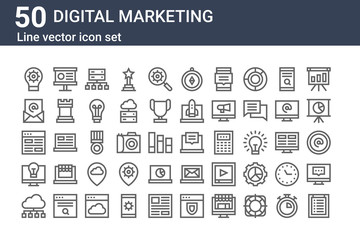 set of 50 digital marketing icons. outline thin line icons such as clipboard, cloud computing, idea, browser, email, presentation, chat