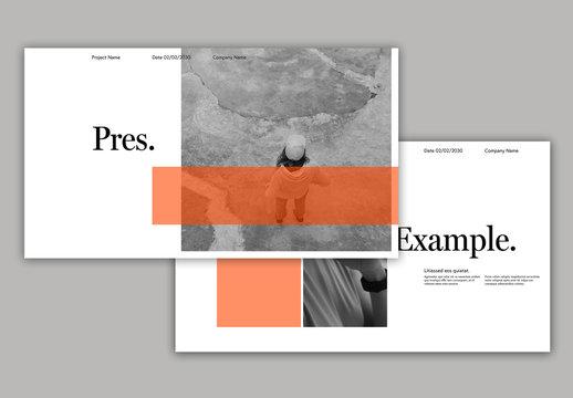 Presentation Layout with Orange Overlay Elements
