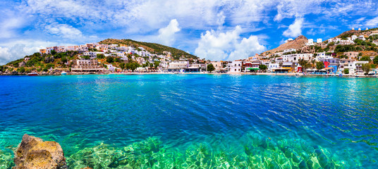 Authentic traditional Island Leros in Dodekanese, Greece. view of Panteli village and beach