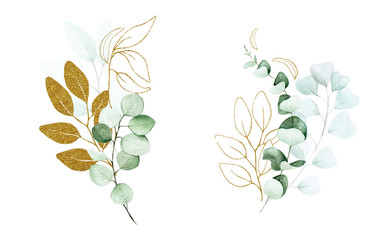 stock illustration set of eucalyptus leaves painted with watercolor and glitter shiny gold. Set for wedding graphic design, decoration greeting card, wrapper, textile.