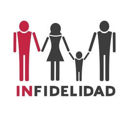 Design of unfaithful woman icon, message of infidelity in spanish