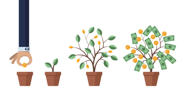 Investing in business and revenue growth. Saving and increasing money. Concept illustration. Man grows a money tree. Isolated on white