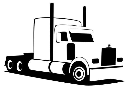 Dynamic vector illustration of an American truck of the Class 8 which can be used as a logo of a company