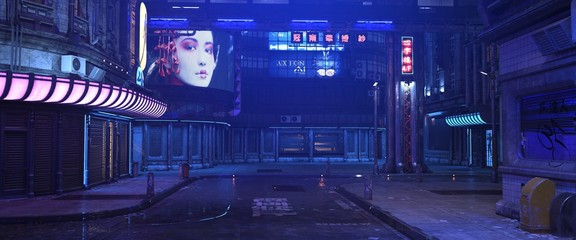 Blue neon night in a city of a future. Photorealistic 3d illustration of the futuristic street in the style of cyberpunk. Grunge urban landscape. Fotomurales