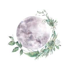 Watercolor moon and floral wreath. Natural illustration for logo, tattoo, banner, sticker. Isolated art on white background
