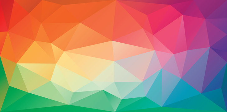 Triangular polygonal background in bright rainbow colors. Colorful banner template of irregular triangles. Spectrum gradient geometric backdrop in origami style. Vector eps8 illustration.