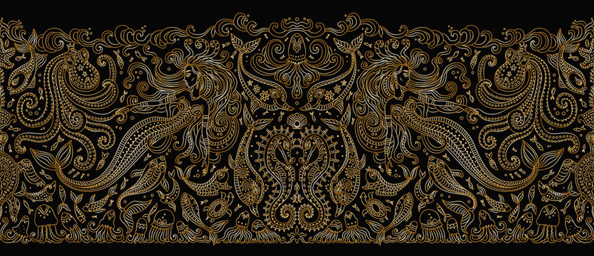 Vector seamless border pattern. Fantasy mermaid, octopus, fish, sea animals gold contour thin line drawing on a black background. Embroidery border, wallpaper, textile print, wrapping paper