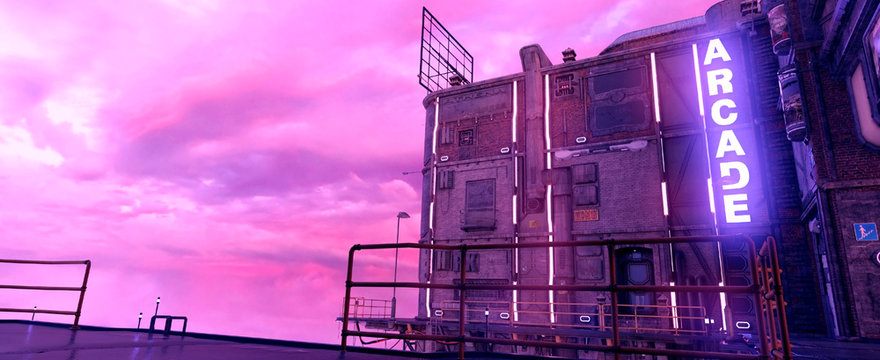 City of a future against purple sunset sky with clouds. Futuristic building with bright neon lights. Wallpaper in a style of cyberpunk. 3D ilustration.