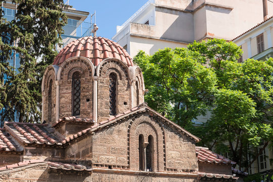 View of Church of Panagia Kapnikarea in Athens . Famous places in Athens - capital of Greece. Ancient monuments.