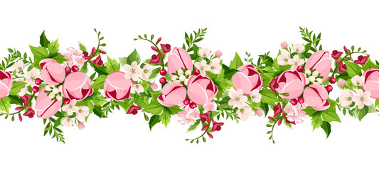 Garden Poster Pattern Vector horizontal seamless border with pink tulip and freesia flowers on a white background.