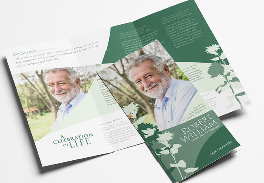Trifold Brochure Layout for Funeral Home Programs