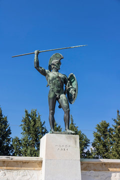 View of monument the Battle of Thermopylae. Famous places in  Greece. Ancient monuments.