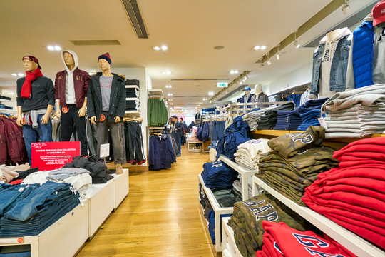HONG KONG, CHINA - JANUARY 23, 2019: clothes on display at GAP store in New Town Plaza. New Town Plaza is a shopping mall in the town centre of Sha Tin, Hong Kong.