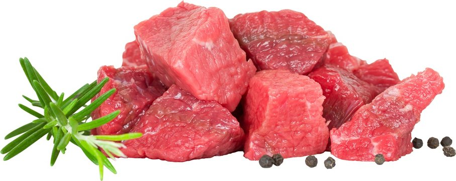 raw meat on white background