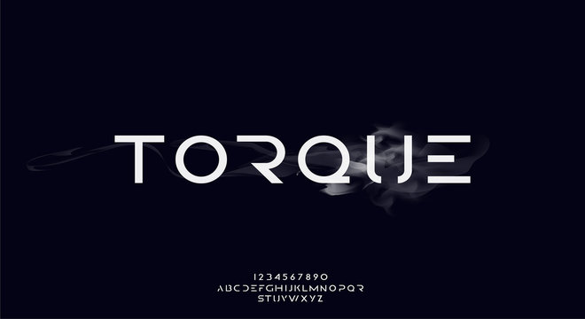 Torque, an abstract technology futuristic scifi alphabet font. digital space typography vector illustration design