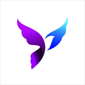 flying dove bird logo vector design template