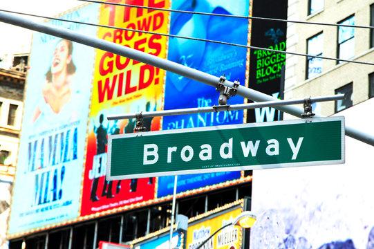 Street sign board of Broadway, New York, New York, U.S.A-June 18, 2013