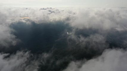 Fotomurales - Aerial view of city pass through cloud from Mt. Dai Mo Shan