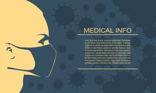 Abstract icon of woman wearing a medical mask. Group of viruses on backdrop