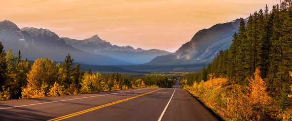 Scenic Icefields parkway in twilight at Jasper national park Canada