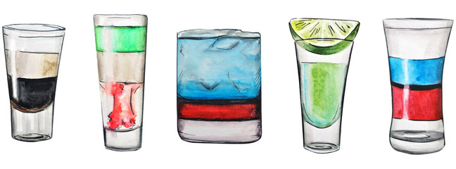 watercolor illustration. alcoholic drinks. Beautiful vibrant tropical cocktails. isolated on a white background. famous cocktails.