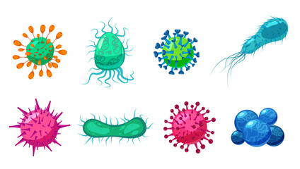 Set Viruses bacterias germs microorganisms disease-causing objects pandemic microbes, fungi infection