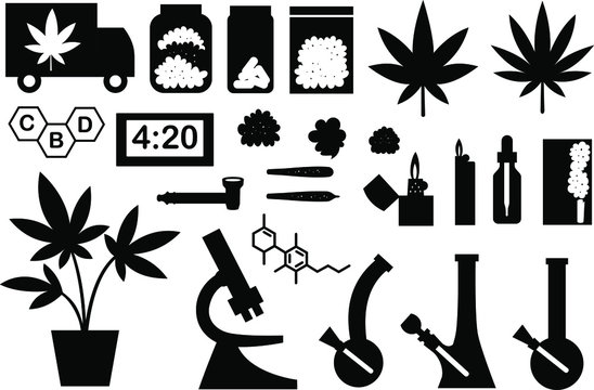 Marijuana black and white vector flat set, big collection of flat design of medical cannabis or smoking weed objects isolated on the white background. Cannabis collection.