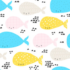 Seamless pattern with sea whales. Childish texture for fabric, textile.