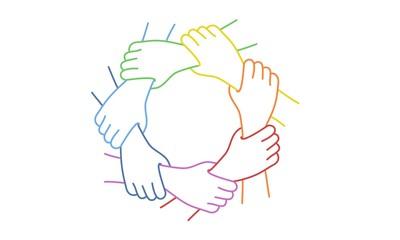Fototapeta Teamwork. Seven United Hands. Line drawing vector illustration.