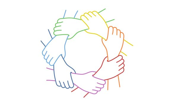 Teamwork. Seven United Hands. Line drawing vector illustration.
