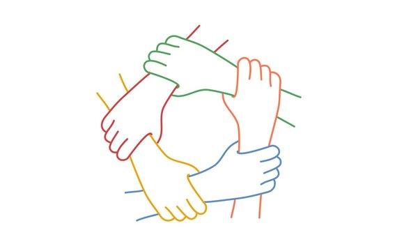 Teamwork. Five United Hands. Line drawing vector illustration.