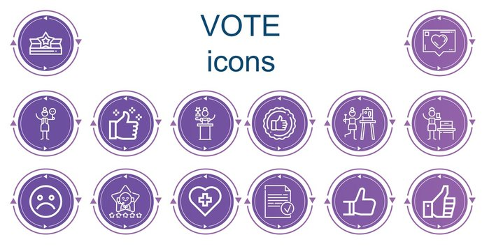 Editable 14 vote icons for web and mobile