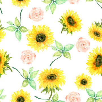 Watercolor botanical sunflower wild garden  foliage leaves Floral background for textiles Liberty sweet style fabric, covers, manufacturing, wallpapers, print, gift wrap