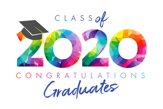 Class of 2020 year graduation banner, awards concept. Stained 3D sign, happy holiday invitation card. Isolated abstract graphic design template. Calligraphic text in brushing style, white background.
