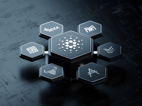 Cardano open source cryptocurrency blockchain project ecosystem - 3D render