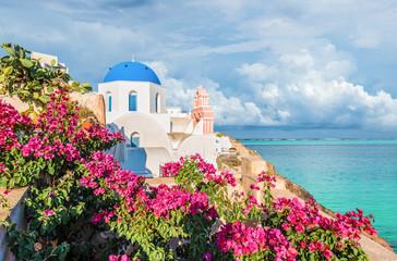 Wall Mural - Landscape with Church in Oia, Santorini islands, Greece