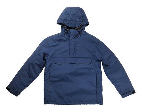 Jacket isolated on white background.Mens blue jacket in a hood isolated on a white background. Windbreaker jacket. Casual style.