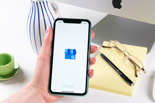 Helsinki, Finland, January 30, 2020: Google My Business application icon on Apple iPhone X screen close-up. Google My Business icon. Google My business application. Social media network