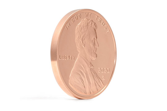 Lincoln Penny Proof Texture Coin 2020 S Angle view on White Background